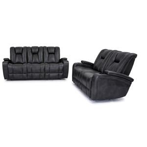 Reclining Sofa with Drop Down Table and Reclining Glider Loveseat Set