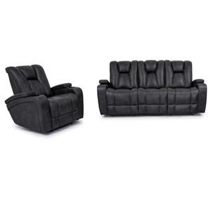 Reclining Sofa with Drop Down Table and Glider Recliner Set
