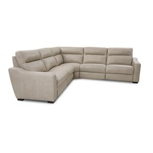 Leather 5-Piece Power Reclining Sectional in Ivory
