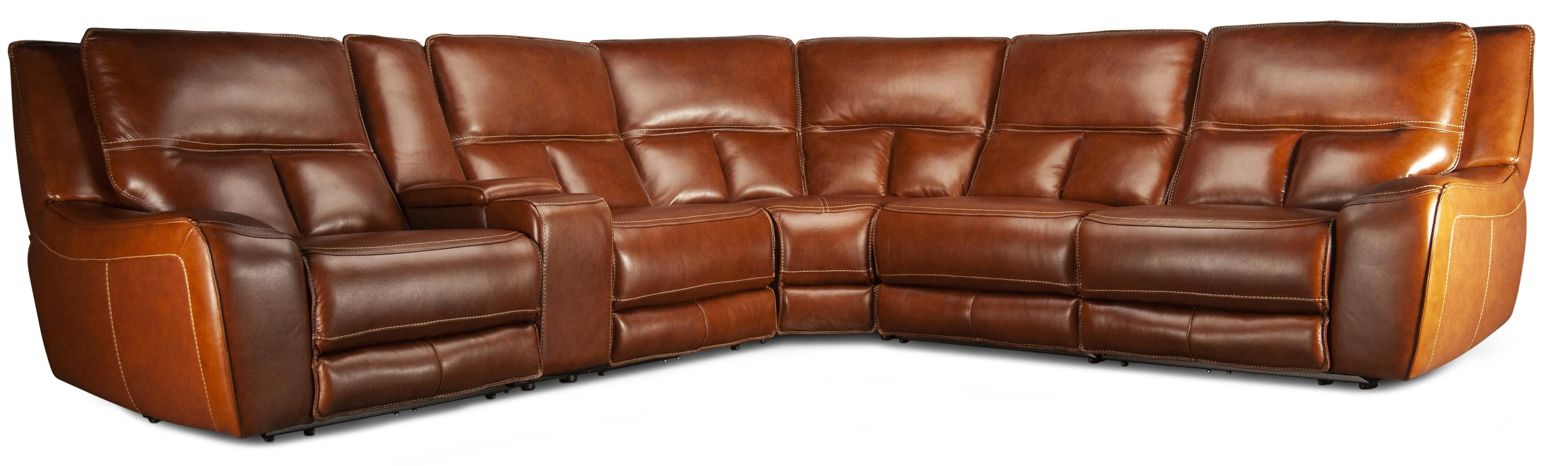 Cora Cora Leather Match Power Sectional at Morris Home