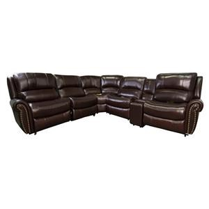 Leather Match Power Reclining Sectional Sofa with Power Head Rests