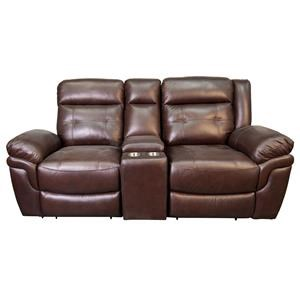 Leather Match Reclining Console Loveseat