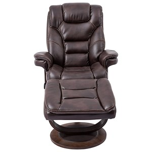 Pushback Reclining Swivel Chair and Ottoman