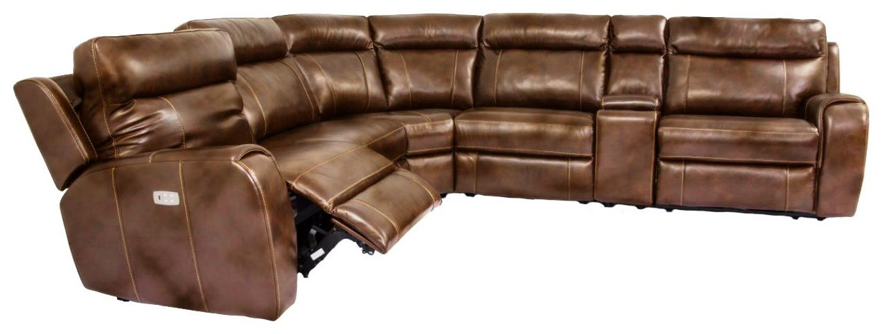 Pembrook Pembrook Leather Match Power Sectional at Morris Home