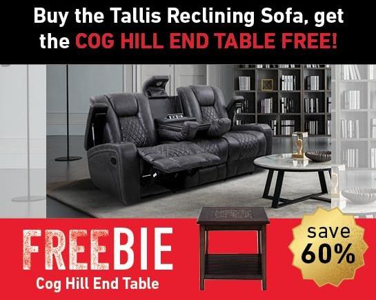 Tallis Tallis Reclining Sofa with Freebie! at Morris Home