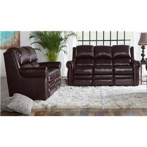 Burgundy Dual Power Reclining Leather Match Sofa and Power Reclining Leather Match Loveseat Set