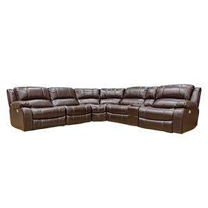 Six Piece Reclining Sofa with Power Headrest, Power Footrest, Cupholders, and Hidden USB Ports