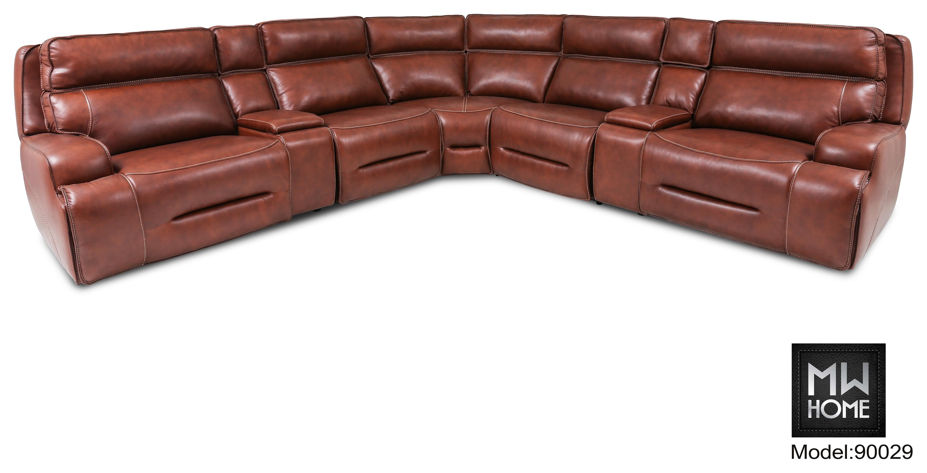 U90029 Leather 6 Piece Leather Sectional by Cheers at Westrich Furniture & Appliances