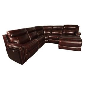 Casual Power Sectional Sofa with Nailhead Trim