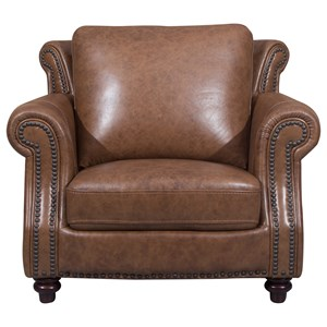 Traditional Chair with Rolled Arms and Nailhead Trim