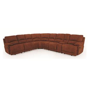 Casual Reclining Sectional Sofa with Right Storage Console and Cupholders