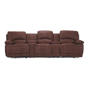 3-Seat Leather Theater Seating with Consoles and Cupholders