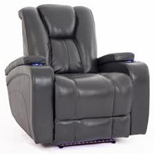 Charcoal Recliner with Power Head & Foot Rests