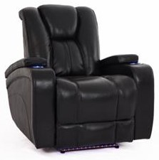 Black Recliner with Power Head & Foot Rests