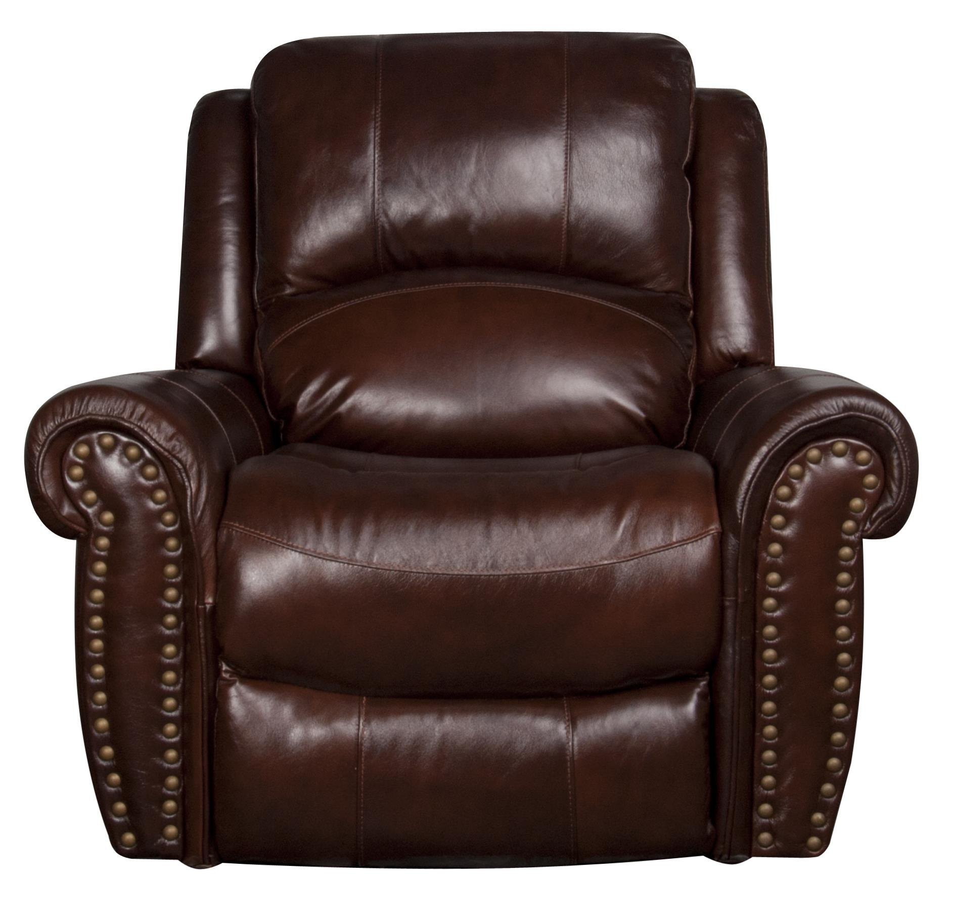 Traditional Leather Match Glider Recliner with Nailhead Trim