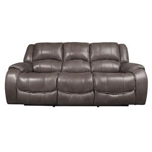 Leather Match Power Reclining Sofa with Power Headrest