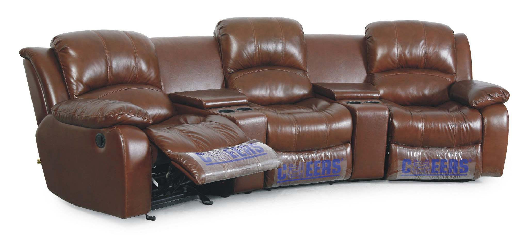 XW8251N 3-Person Leather Theater Seating by Cheers Sofa at Lagniappe Home Store