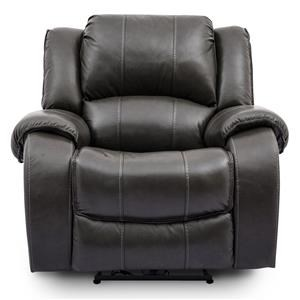 Grey Leather Power Recliner Rocker with Power Headrest