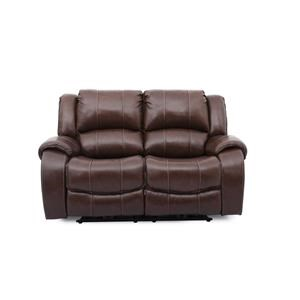 Brown Leather Power Reclining Loveseat with Power Headrests