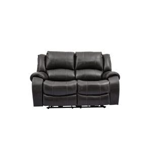 Grey Leather Power Reclining Loveseat with Power Headrests