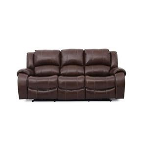 Brown Leather Power Reclining Sofa with Power Headrests