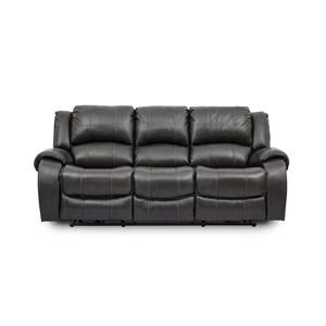 Grey Leather Power Reclining Sofa with Power Headrests