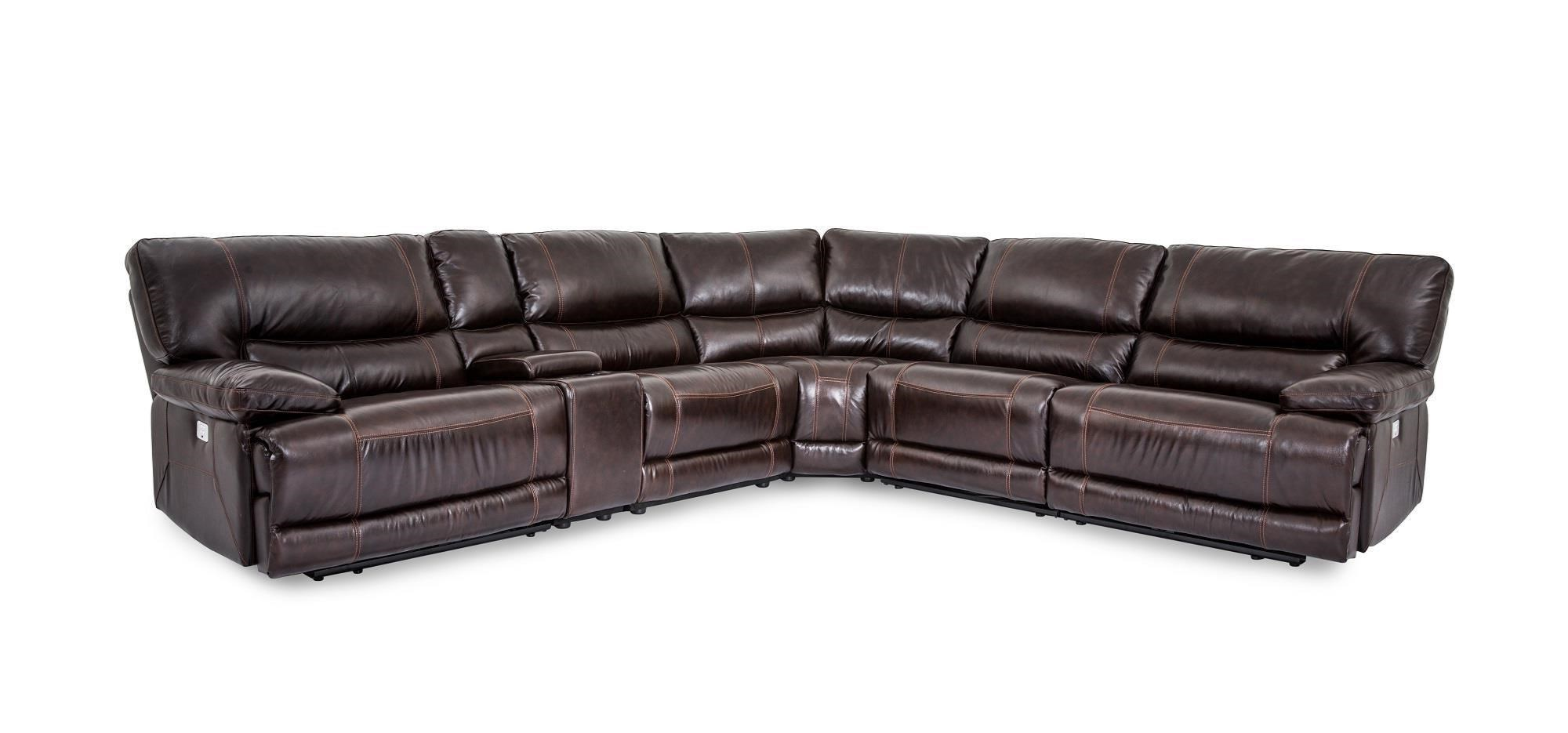 Collins Leather Power Reclining 6 Piece Sectional