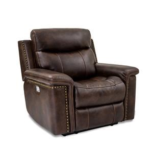 Leather Power Recliner with Power Head & Footrests