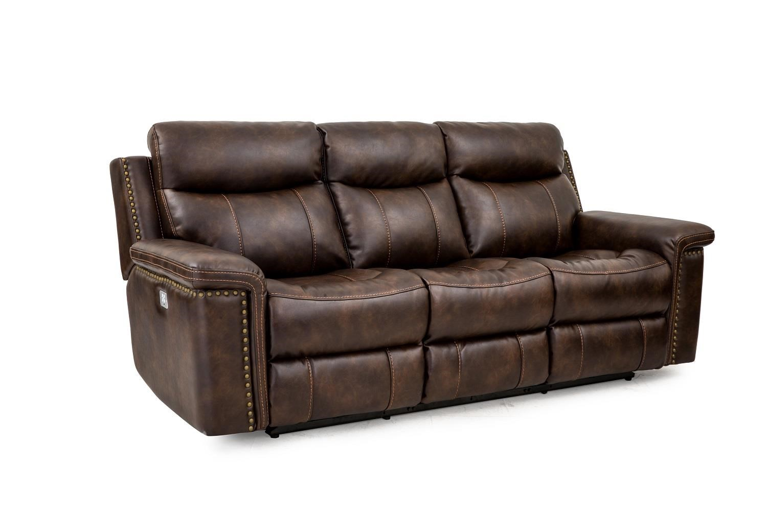 Leather Power Reclining Sofa with Power Head & Footrests