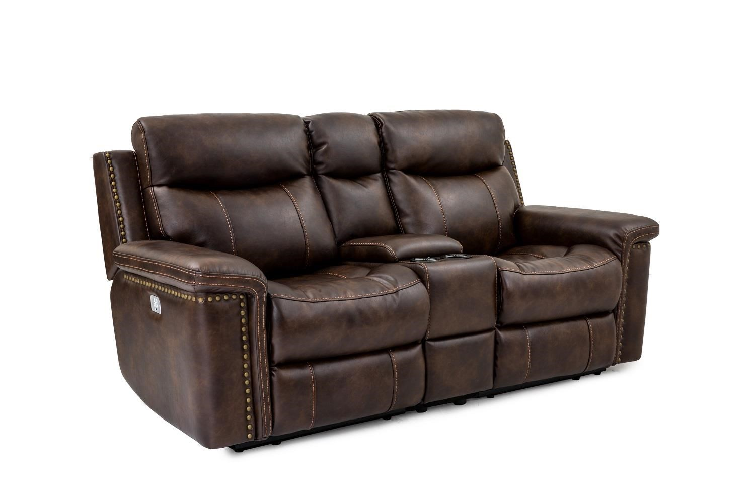 Leather Power Reclining Console Loveseat with Power Head & Footrests
