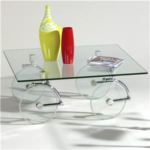 Contemporary Glass Caster Cocktail Table