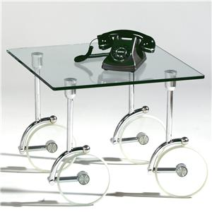 Contemporary Glass Caster Lamp Table
