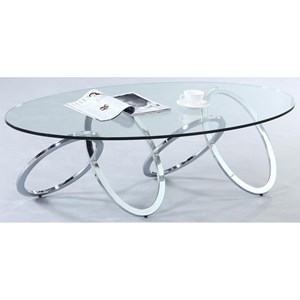 Oval Glass Top Cocktail Table