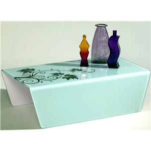 Bent Glass Coffee Table w/ Floral Pattern