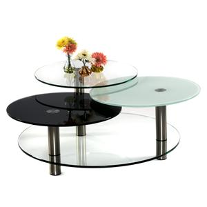 Three Tier Swivel Glass Cocktail Table