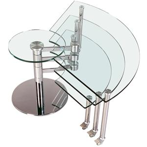 Three Level Motion Cocktail Table with Glass Top