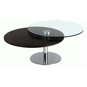 Contemporary Slide Top Cocktail Table with Chrome Base