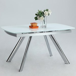 Self-Storing Extension Dining Table with Chrome Legs