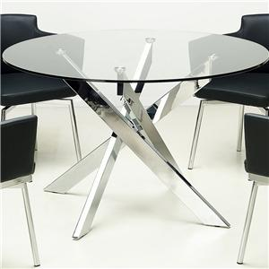 Chrome Cross Leg Table with Glass Top