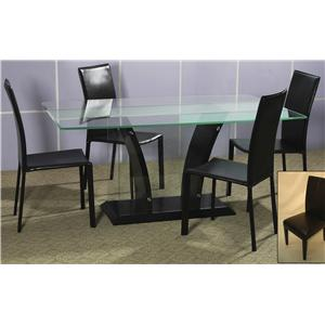 Chintaly Imports Flair 5-Piece Glass Top Dining Table Set