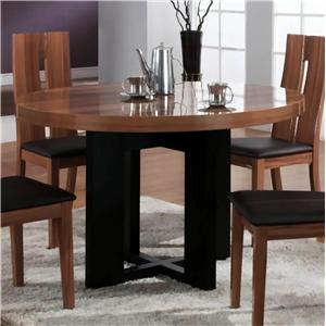 Round Wood Top Dining Table with Black Pedestal Base