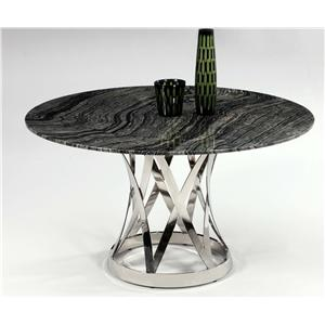 Marble Top Dining Table with Chrome Pedestal Base