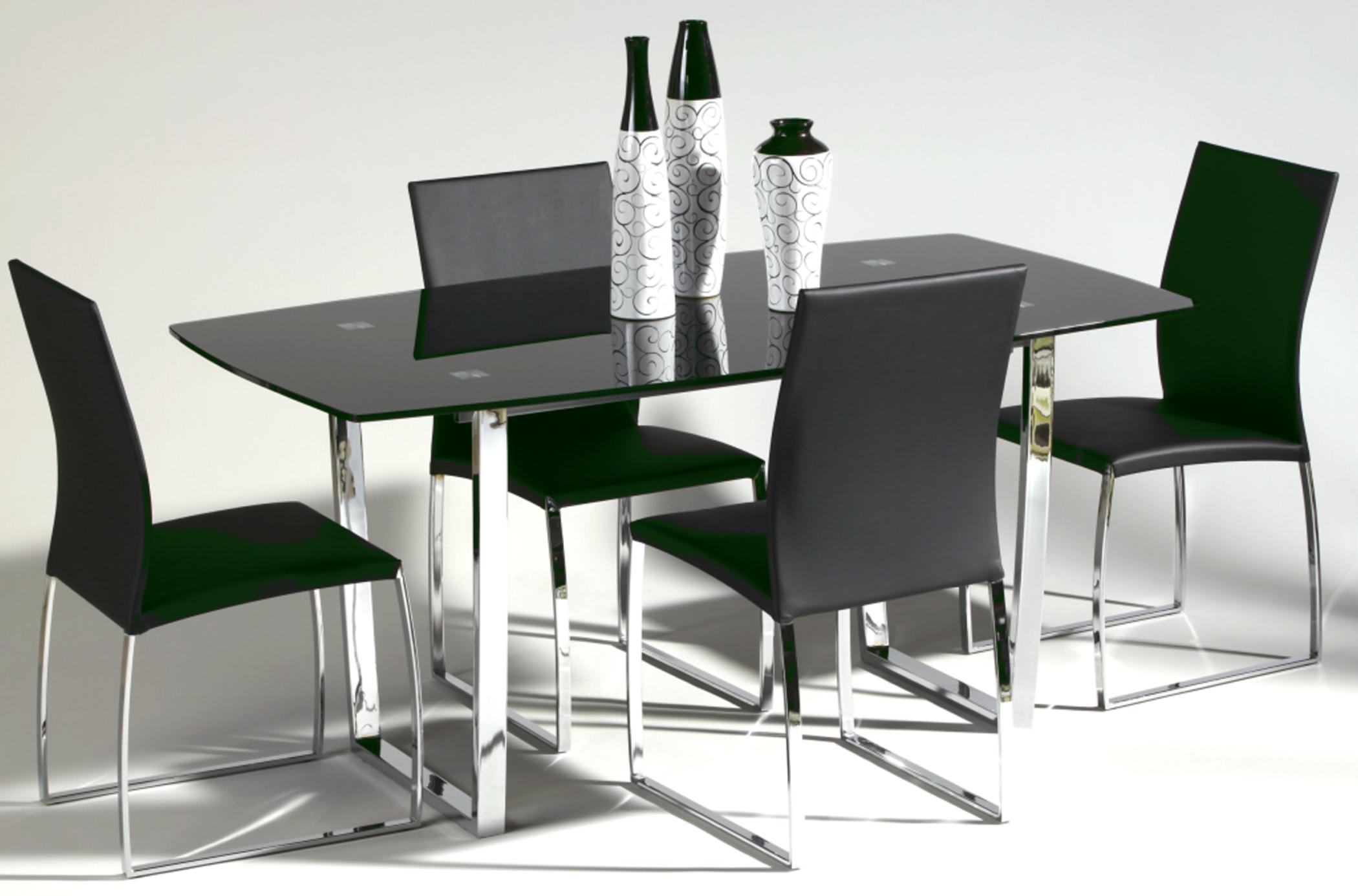 Marcy 5-Piece Glass Top Dining Set by Chintaly Imports at Nassau Furniture and Mattress