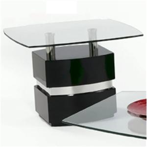 Boat Shape Glass Top Lamp Table