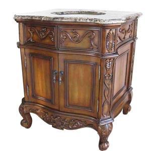 """Classic Design Sink Vanities 30"""" Brown Parquet Marble Sink Vanity"""