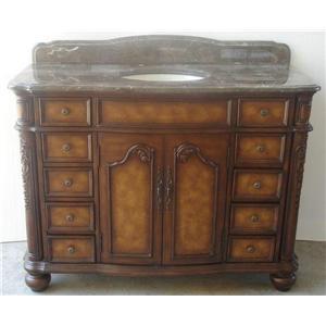 Classic Design Sink Vanities Vanity w/ Parquet Marble Top