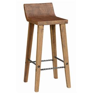 Practical Low Back Bar Stool with Iron Footrest