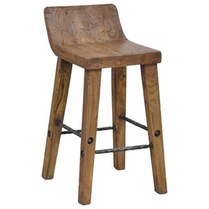 Practical Low Counter Stool with Iron Footrest