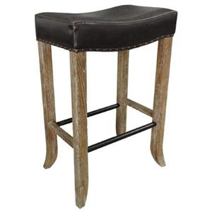 Backless Bar Stool with Inspired Leather Seat and Flared Legs