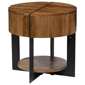Round Mango Wood End Table with Iron Base